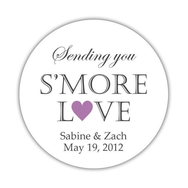 "S'more love stickers - 1.5"" circle = 30 labels per sheet / Plum - Dazzling Daisies"