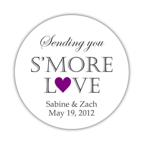 "S'more love stickers - 1.5"" circle = 30 labels per sheet / Purple - Dazzling Daisies"