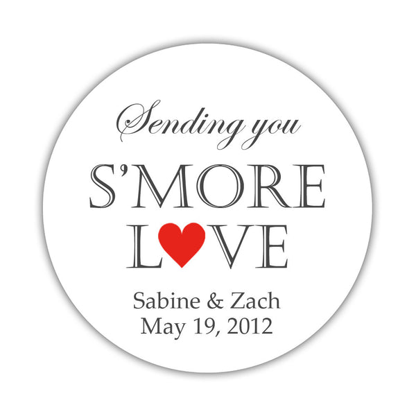 "S'more love stickers - 1.5"" circle = 30 labels per sheet / Red - Dazzling Daisies"