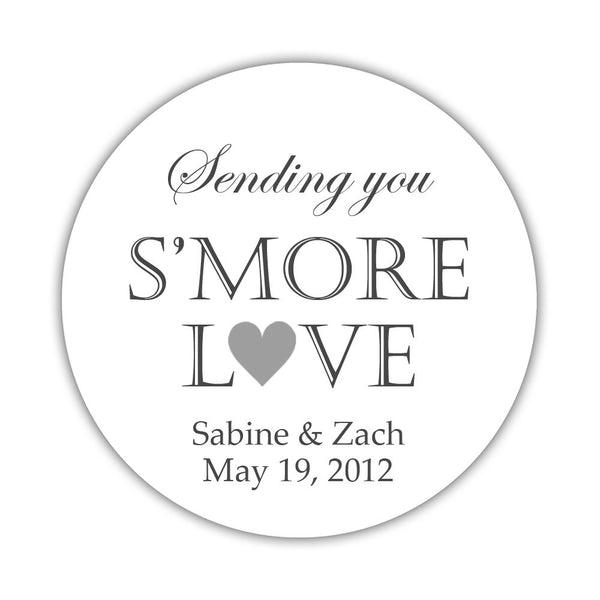 "S'more love stickers - 1.5"" circle = 30 labels per sheet / Silver - Dazzling Daisies"