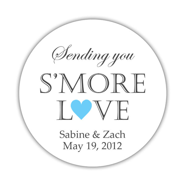 "S'more love stickers - 1.5"" circle = 30 labels per sheet / Sky blue - Dazzling Daisies"