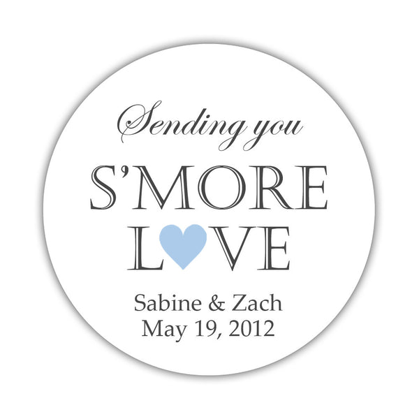 "S'more love stickers - 1.5"" circle = 30 labels per sheet / Steel blue - Dazzling Daisies"