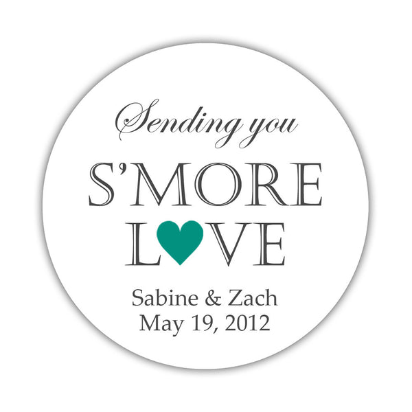 "S'more love stickers - 1.5"" circle = 30 labels per sheet / Teal - Dazzling Daisies"