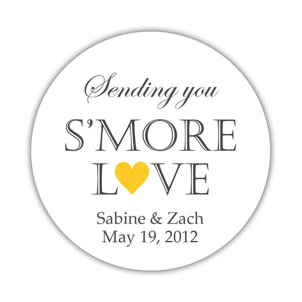 "S'more love stickers - 1.5"" circle = 30 labels per sheet / Yellow - Dazzling Daisies"