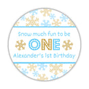 "Snow much fun to be one stickers - 1.5"" circle = 30 labels per sheet / Gold/Sky blue - Dazzling Daisies"