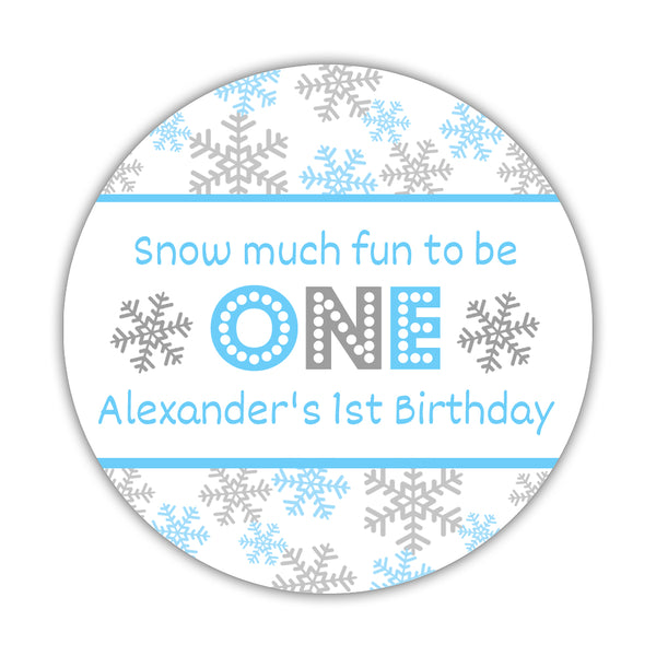 "Snow much fun to be one stickers - 1.5"" circle = 30 labels per sheet / Silver/Sky blue - Dazzling Daisies"