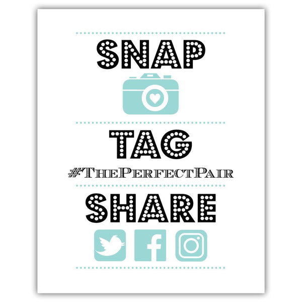 "Social media sign 'Big and Bold' - 5x7"" / Aquamarine - Dazzling Daisies"