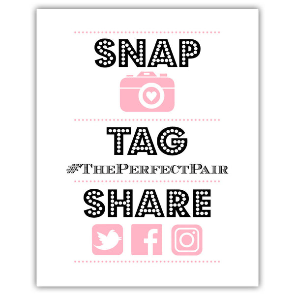 "Social media sign 'Big and Bold' - 5x7"" / Pink - Dazzling Daisies"