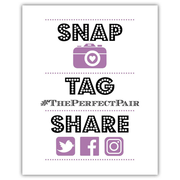 "Social media sign 'Big and Bold' - 5x7"" / Plum - Dazzling Daisies"