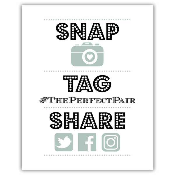 "Social media sign 'Big and Bold' - 5x7"" / Sage - Dazzling Daisies"