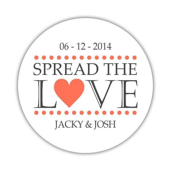 Spread the love stickers - 1.5 circle = 30 labels per sheet / Coral - Dazzling Daisies