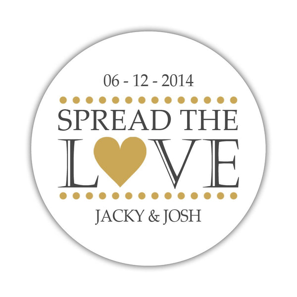 Spread the love stickers - 1.5 circle = 30 labels per sheet / Gold - Dazzling Daisies