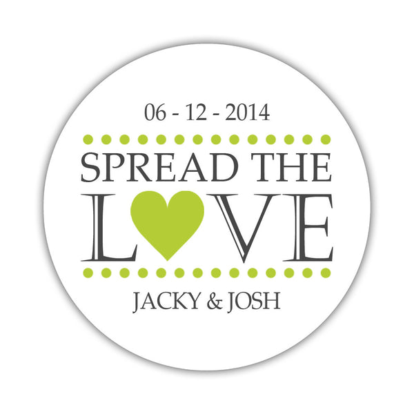 Spread the love stickers - 1.5 circle = 30 labels per sheet / Lime - Dazzling Daisies