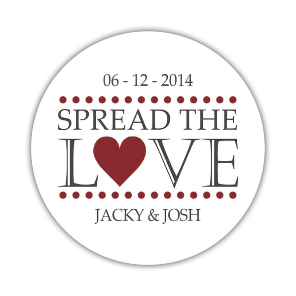 Spread the love stickers - 1.5 circle = 30 labels per sheet / Maroon - Dazzling Daisies