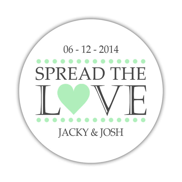 Spread the love stickers - 1.5 circle = 30 labels per sheet / Mint - Dazzling Daisies