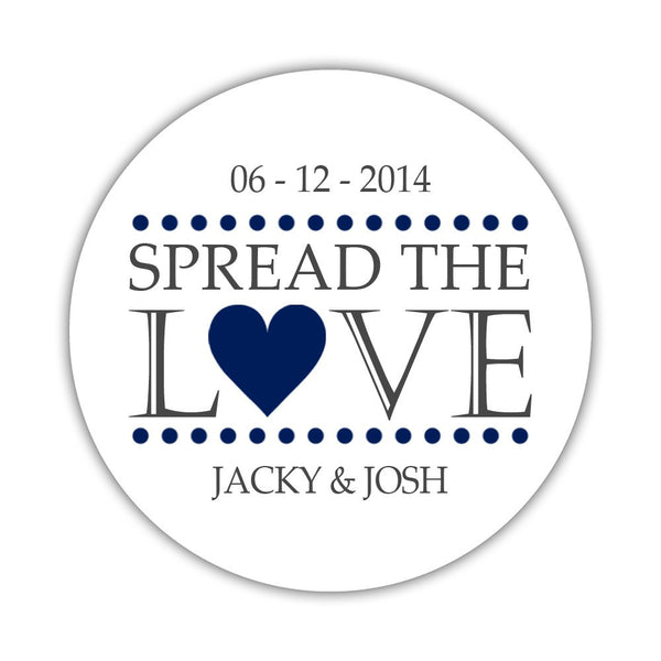 Spread the love stickers - 1.5 circle = 30 labels per sheet / Navy - Dazzling Daisies