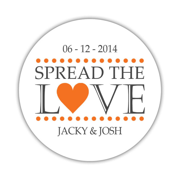 Spread the love stickers - 1.5 circle = 30 labels per sheet / Orange - Dazzling Daisies