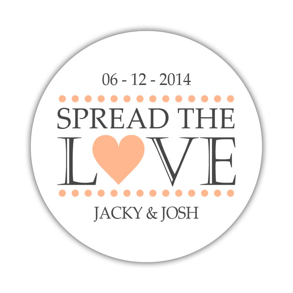 Spread the love stickers - 1.5 circle = 30 labels per sheet / Peach - Dazzling Daisies