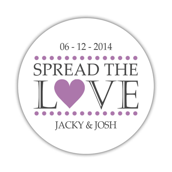 Spread the love stickers - 1.5 circle = 30 labels per sheet / Plum - Dazzling Daisies