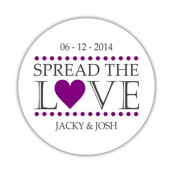 Spread the love stickers - 1.5 circle = 30 labels per sheet / Purple - Dazzling Daisies