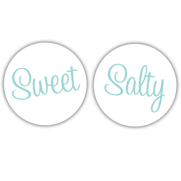 "Sweet and salty stickers - 1.5"" circle = 30 labels per sheet / Aquamarine - Dazzling Daisies"