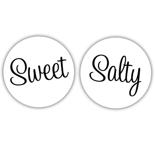 "Sweet and salty stickers - 1.5"" circle = 30 labels per sheet / Black - Dazzling Daisies"