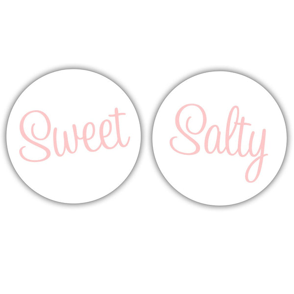 "Sweet and salty stickers - 1.5"" circle = 30 labels per sheet / Blush - Dazzling Daisies"