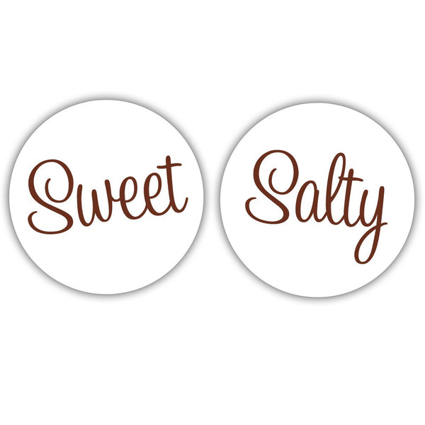 "Sweet and salty stickers - 1.5"" circle = 30 labels per sheet / Chocolate - Dazzling Daisies"