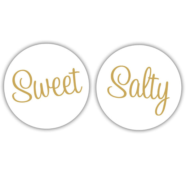 "Sweet and salty stickers - 1.5"" circle = 30 labels per sheet / Gold - Dazzling Daisies"