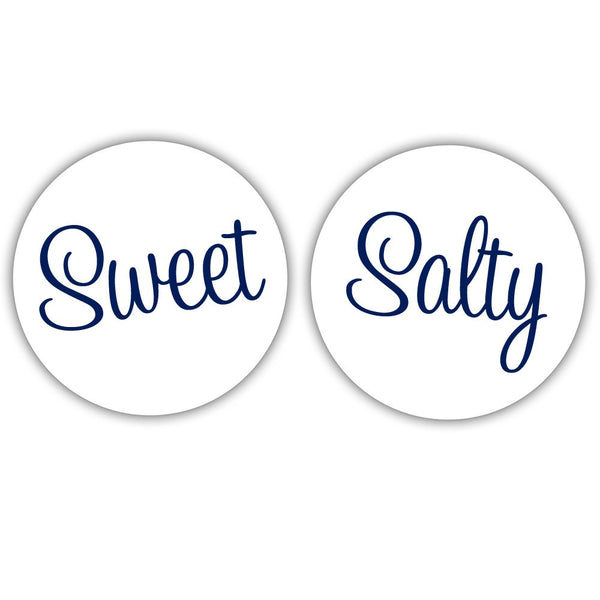 "Sweet and salty stickers - 1.5"" circle = 30 labels per sheet / Navy - Dazzling Daisies"