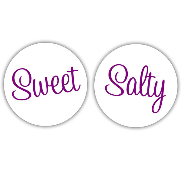 "Sweet and salty stickers - 1.5"" circle = 30 labels per sheet / Purple - Dazzling Daisies"