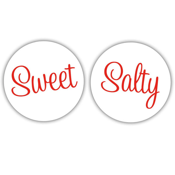 "Sweet and salty stickers - 1.5"" circle = 30 labels per sheet / Red - Dazzling Daisies"