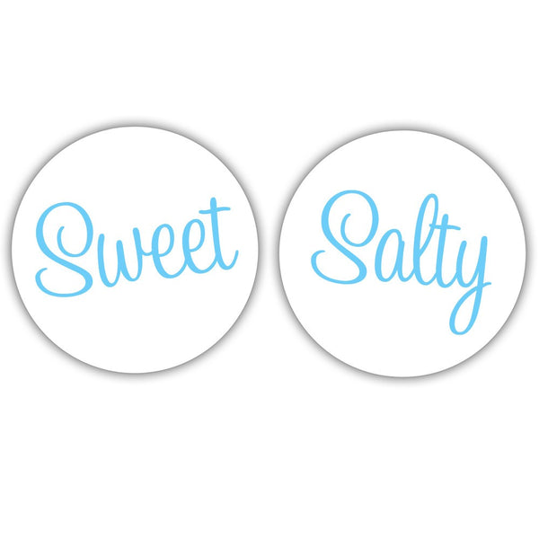 "Sweet and salty stickers - 1.5"" circle = 30 labels per sheet / Sky blue - Dazzling Daisies"