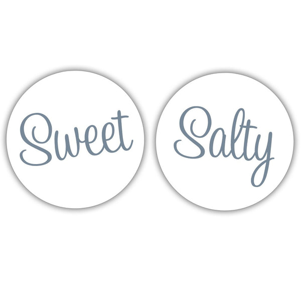 "Sweet and salty stickers - 1.5"" circle = 30 labels per sheet / Slate - Dazzling Daisies"