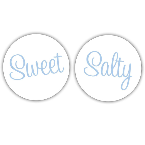"Sweet and salty stickers - 1.5"" circle = 30 labels per sheet / Steel blue - Dazzling Daisies"