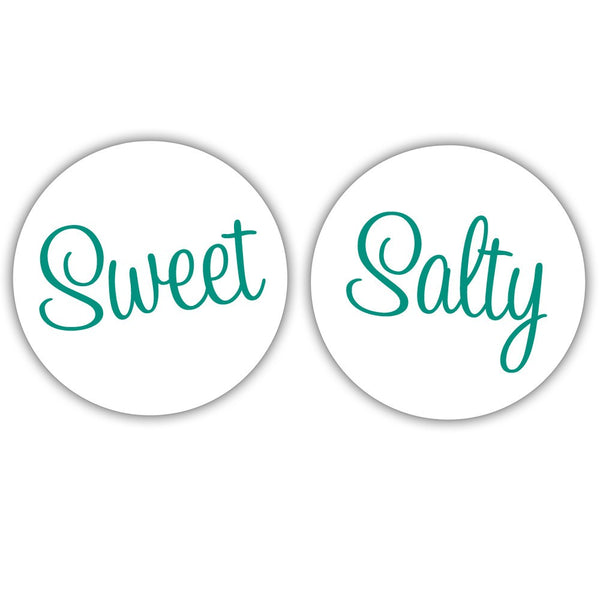 "Sweet and salty stickers - 1.5"" circle = 30 labels per sheet / Teal - Dazzling Daisies"