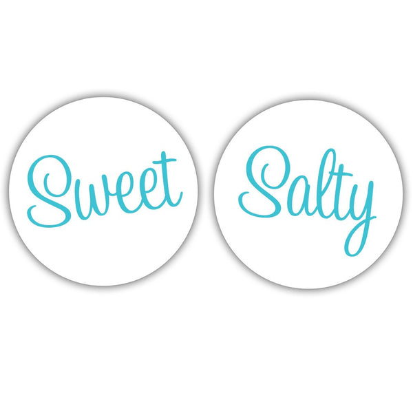 "Sweet and salty stickers - 1.5"" circle = 30 labels per sheet / Turquoise - Dazzling Daisies"
