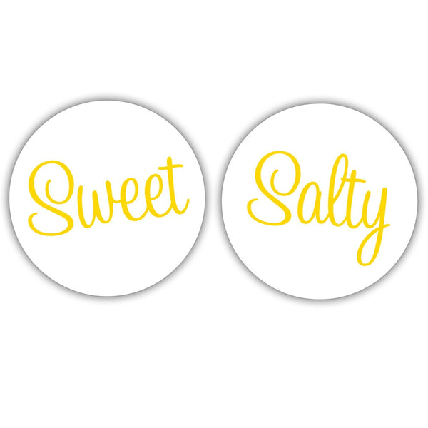 "Sweet and salty stickers - 1.5"" circle = 30 labels per sheet / Yellow - Dazzling Daisies"