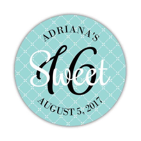 "Sweet sixteen stickers 'Diamond Dazzle' - 1.5"" circle = 30 labels per sheet / Aquamarine - Dazzling Daisies"