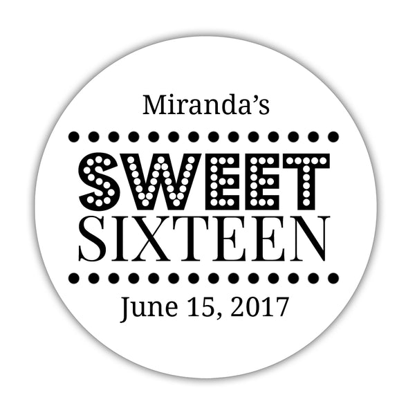 "Sweet 16 stickers 'Classic Boldness' - 1.5"" circle = 30 labels per sheet / Black - Dazzling Daisies"