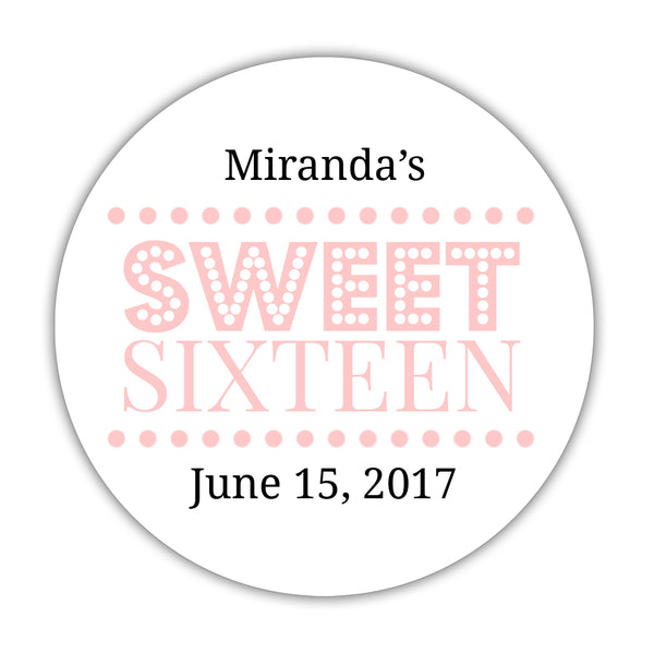 "Sweet 16 stickers 'Classic Boldness' - 1.5"" circle = 30 labels per sheet / Blush - Dazzling Daisies"