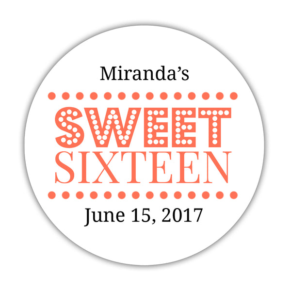 "Sweet 16 stickers 'Classic Boldness' - 1.5"" circle = 30 labels per sheet / Coral - Dazzling Daisies"