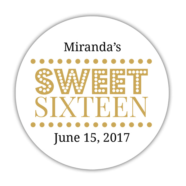 "Sweet 16 stickers 'Classic Boldness' - 1.5"" circle = 30 labels per sheet / Gold - Dazzling Daisies"