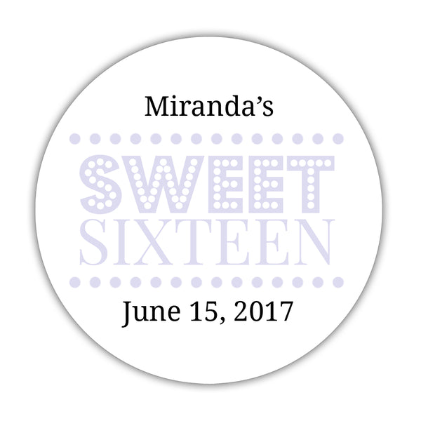 "Sweet 16 stickers 'Classic Boldness' - 1.5"" circle = 30 labels per sheet / Lavender - Dazzling Daisies"