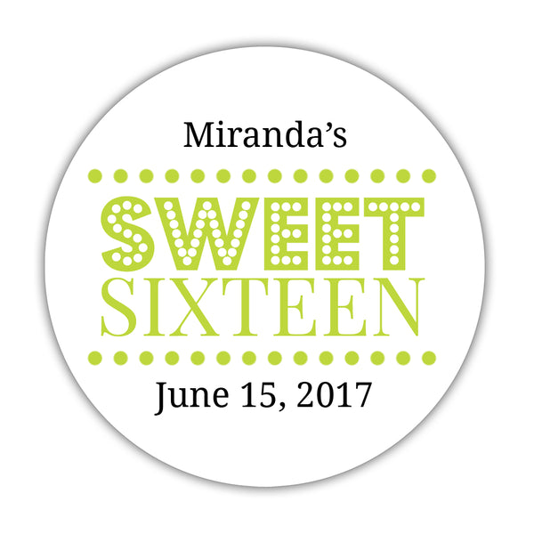 "Sweet 16 stickers 'Classic Boldness' - 1.5"" circle = 30 labels per sheet / Lime - Dazzling Daisies"