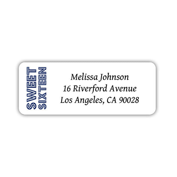 Sweet 16 address labels - Navy - Dazzling Daisies