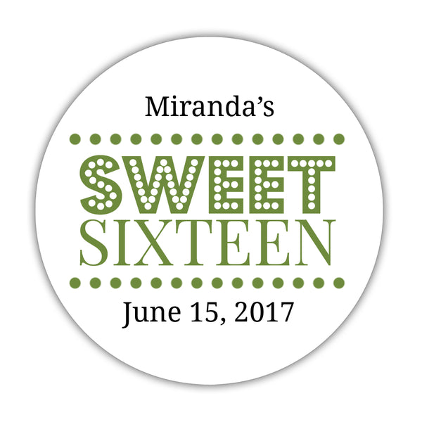 "Sweet 16 stickers 'Classic Boldness' - 1.5"" circle = 30 labels per sheet / Olive - Dazzling Daisies"