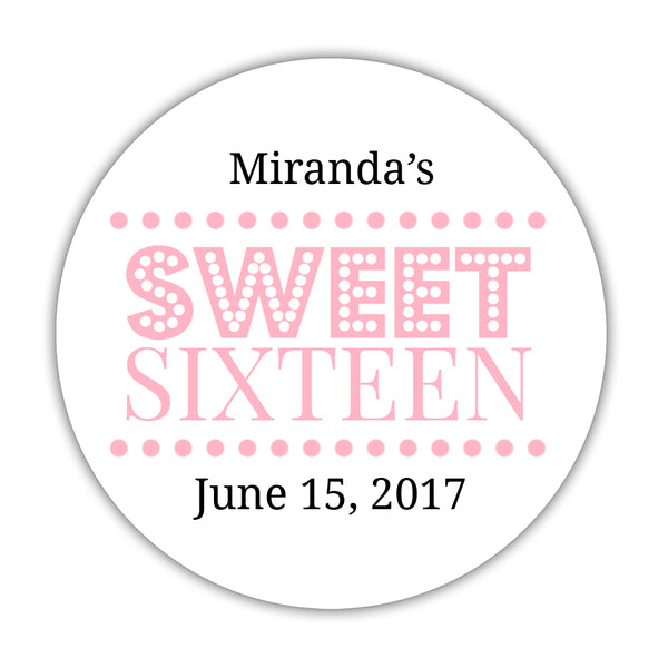 "Sweet 16 stickers 'Classic Boldness' - 1.5"" circle = 30 labels per sheet / Pink - Dazzling Daisies"