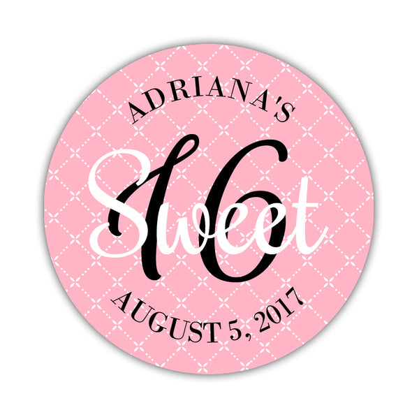 "Sweet sixteen stickers 'Diamond Dazzle' - 1.5"" circle = 30 labels per sheet / Pink - Dazzling Daisies"