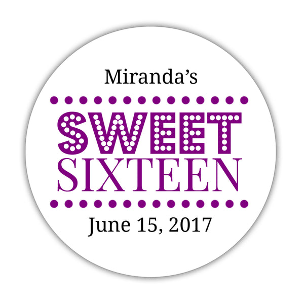 "Sweet 16 stickers 'Classic Boldness' - 1.5"" circle = 30 labels per sheet / Purple - Dazzling Daisies"